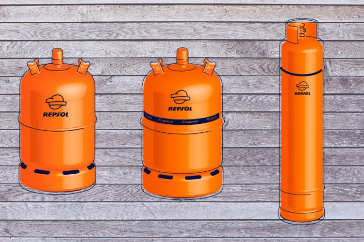 Oranje gasflessen in Spanje